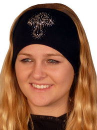 Stretch Headband-Glittered Cross Rhinestuds/stones on Black