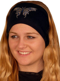Stretch Headband-Blue & Silver Butterfly Rhinestone/stud on Black