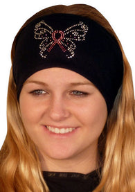 Stretch Headband-Pink Ribbon Butterfly Rhinestuds on Black