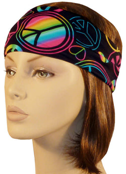 Stretch Headband-Neon Peace Signs on Black