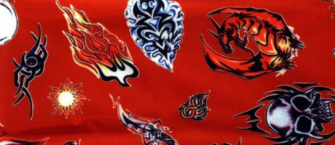 Stretch Headband-Skulls, Dragons & Flames on Red