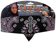 Chop Top-Black/Pink Cross Paisley w/Rhinestones (Imported)