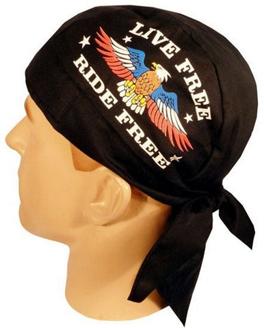Skull Cap-Live Free, Ride Free w/Eagle on Black