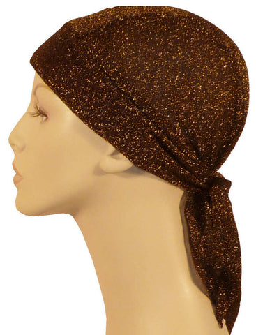 Stretch Skull Cap-Gold Threads on Brown