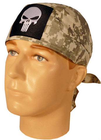 Specialty Skull Cap-Skull Punisher Patch on Army ACU Digital Camo