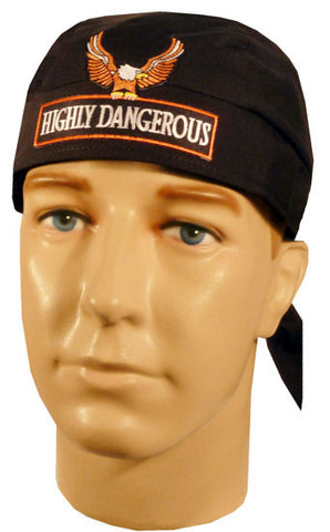 Specialty Skull Cap-Highly Dangerous w/Eagle Patch on Black