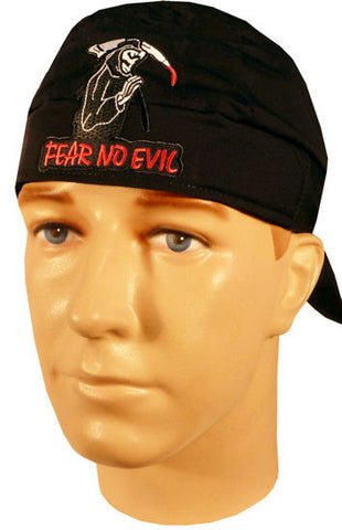 Specialty Skull Cap-Fear No Evil Patch on Black