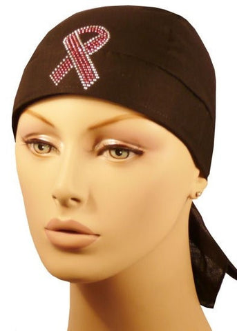 Rhinestud Skull Cap-Single Pink Ribbon on Blk Band