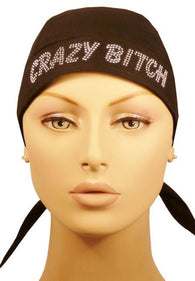 Rhinestud Skull Cap-Silver Crazy Bitch on Black