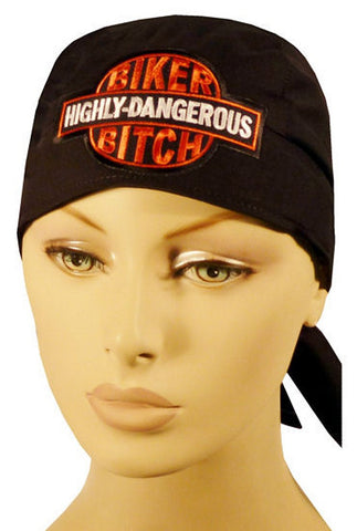 Specialty Skull Cap-Highly Dangerous Biker Bitch Patch on Black