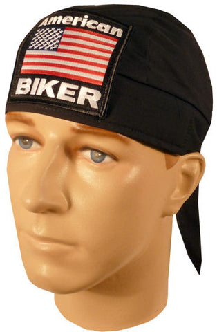 Skull Cap-American Biker Patch on Black