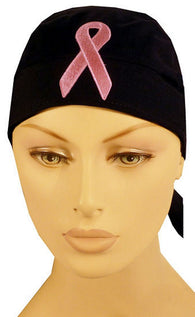 Skull Cap-Pink Ribbon Patch on Black