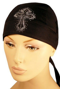 Rhinestone/stud Skull Cap-Glittered Cross on Black