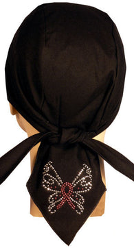 Rhinestud Skull Cap-Pink Ribbon Butterfly on Tail