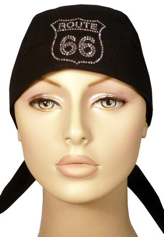Rhinestone Skull Cap-Route 66 on Black