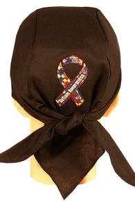 Skull Cap-Autism Awareness Ribbon Patch on BACK