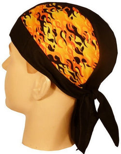 Skull Cap-Raw Flame Sides w/Black Band & Center