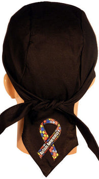 Skull Cap-Autism Awareness Ribbon Patch on Tail