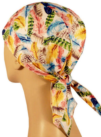 Skull Cap-Assorted Feathers on White