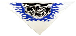 Tri Danna Mask-Skull Jaw w/Blue Flames on White