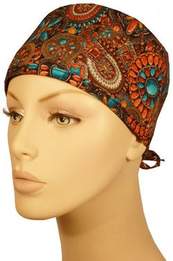 Surgical Cap-Indian Jewelry Coral