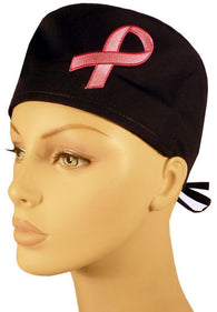 Specialty Surgical Cap-Two Tone Pink Ribbon Patch on Black