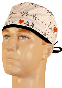 Surgical Cap-Heartbeats on White w/Black Ties