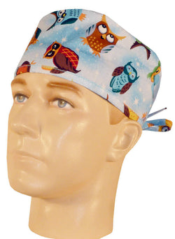 Surgical Cap-Tossed Owls on Blue