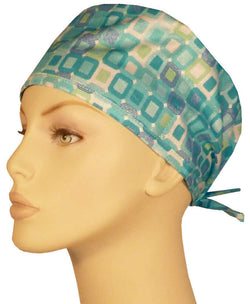 Surgical Cap-Teal Squares