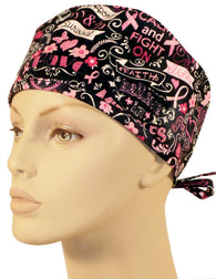 Surgical Cap-Pink Ribbon Collage on Black