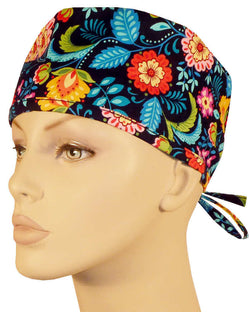 Surgical Cap-Multi Flowers on Black