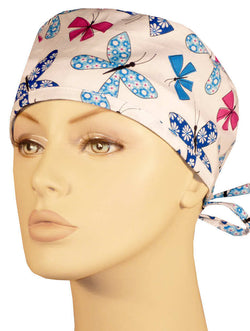 Surgical Cap-Chasing Butterflies on White