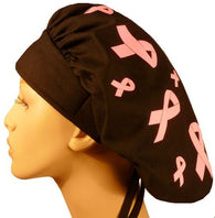 Banded Bouffant-Tossed Pink Ribbons on Black