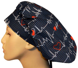 Banded Bouffant-Heartbeats on Navy