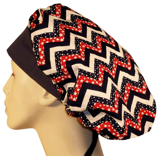 Designer Banded Bouffant-Patriotic Chevron w/Navy Band