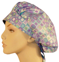 Banded Bouffant-Purple Squares