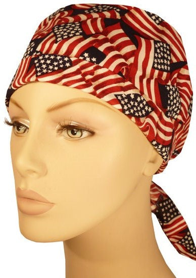Star Tie Cap-Small Tossed US Flag