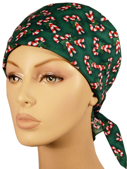 Star Tie Cap-Candy Canes on Green