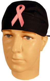 Specialty Surgical Skull Cap-Pink Ribbon Patch on Black