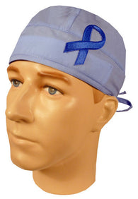 Specialty Surgical Cap-Blue Support Ribbon on Sky Blue