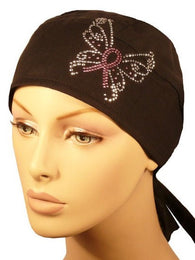 Rhinestud Deluxe Skull Cap-Pink Ribbon Butterfly on Black