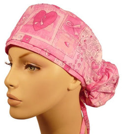 Big Hair Surgical-Pink Ribbon Squares