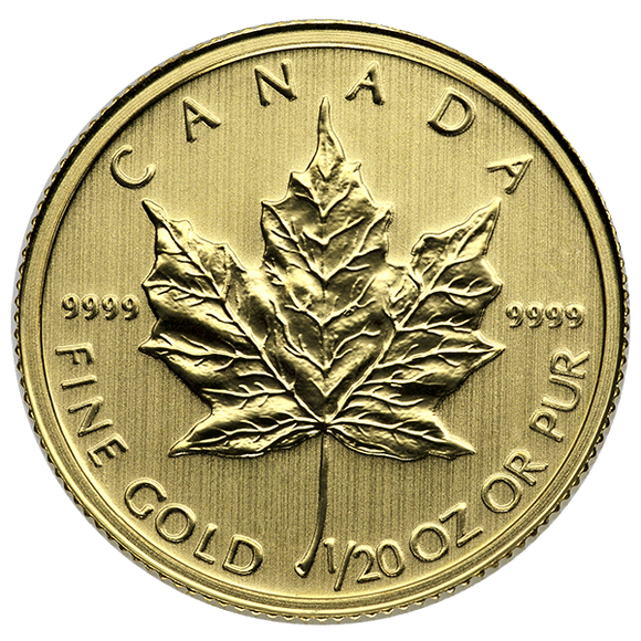 Canadian Gold Maple Leaf 1/20 Oz Common Date