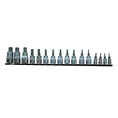 Jonnesway torx GT-JT458 - TORX BIT SOCKET SETS ON RAIL 1/4″, 3/8″ 1/2″ 16 PC