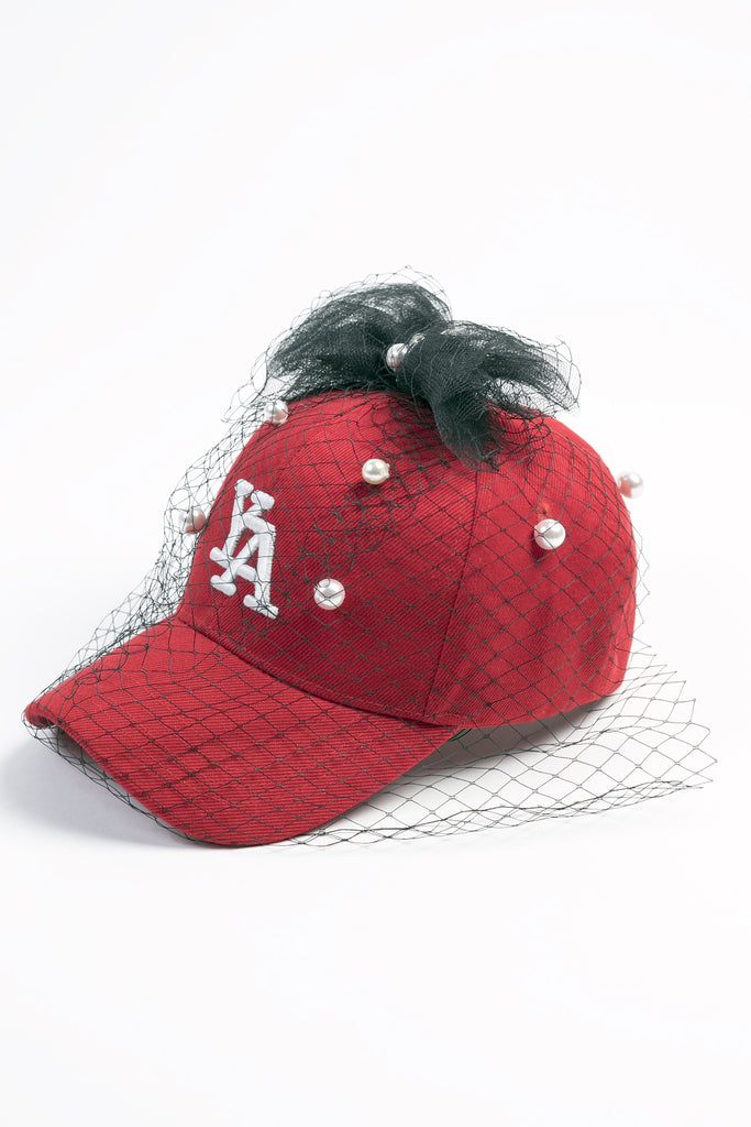 Red and Pearls baseball cap