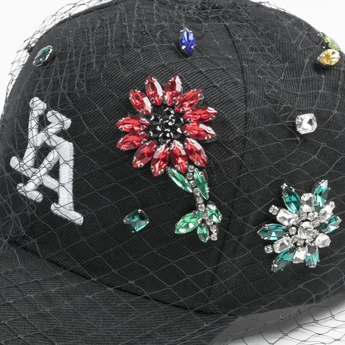 Black Flowers baseball cap