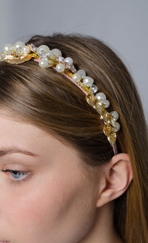 headband crown gold pearls bachelor wedding
