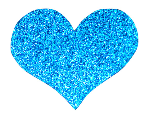 BLUE GLITTER HEART 2.5 INCH FUN PATCH