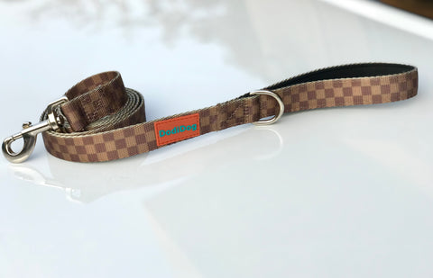 "NEW LIMITED EDITION! ""CHEQUE MATE""(BROWN) Lightweight (6 foot) Leash"