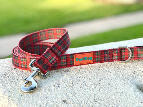 "Limited Edition ""NUTCRACKER PLAID"" Lightweight (6 foot) Leash by DodiDog USA"